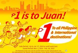 Cebu Pacific air 1 peso fare